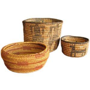 Native American  3 Woven Baskets F8187