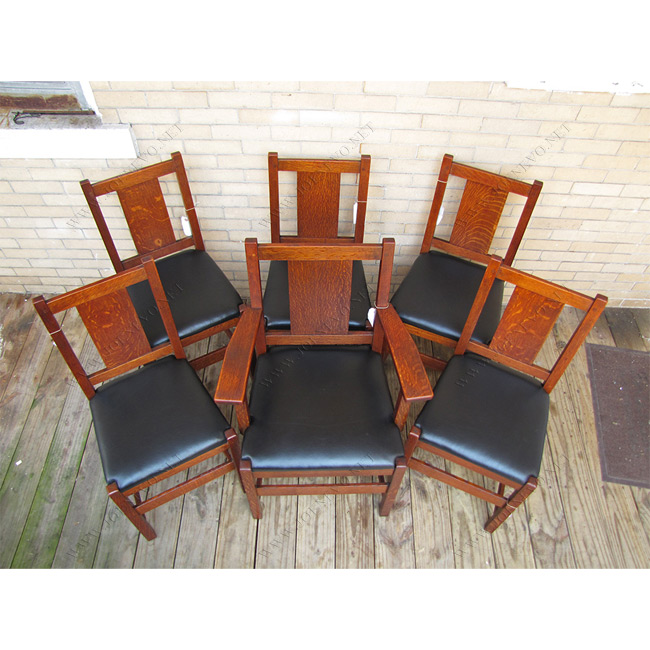 SUPERB Antique LjG STICKLEY Set Of Six Dining Chairs