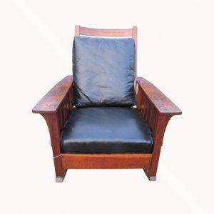 Superb Antique L&jG Stickley Massive Rocking Chair with Slats w1821