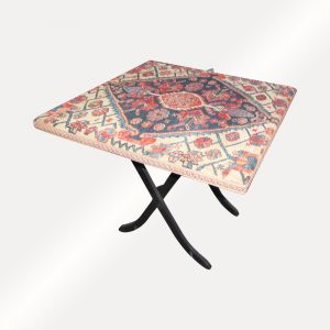 Antique Folding Table With Antique Hamedan Oriental Top Cover w4066‎